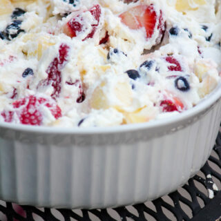 Red White & Blue Fruit Salad with Coconut Milk Whipped Cream
