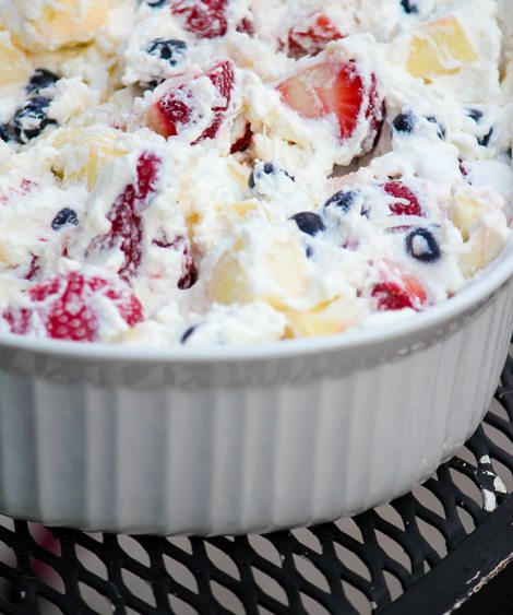 Patriotic Fruit Salad With Coconut Milk Whipped Cream