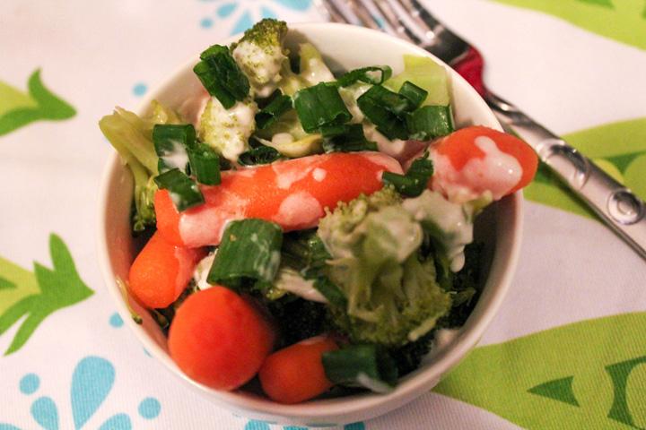 Veggies with a Creamy Garlic Parmesan Sauce
