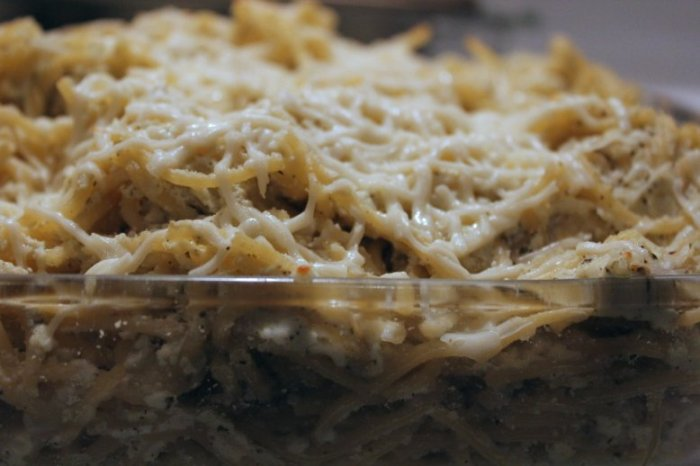 Cheese and Pesto Italian Baked Spaghetti Recipe