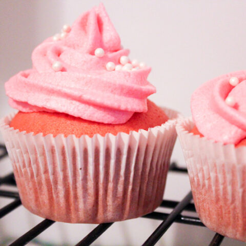 Pink Champagne Cupcakes with Strawberry Champagne Frosting