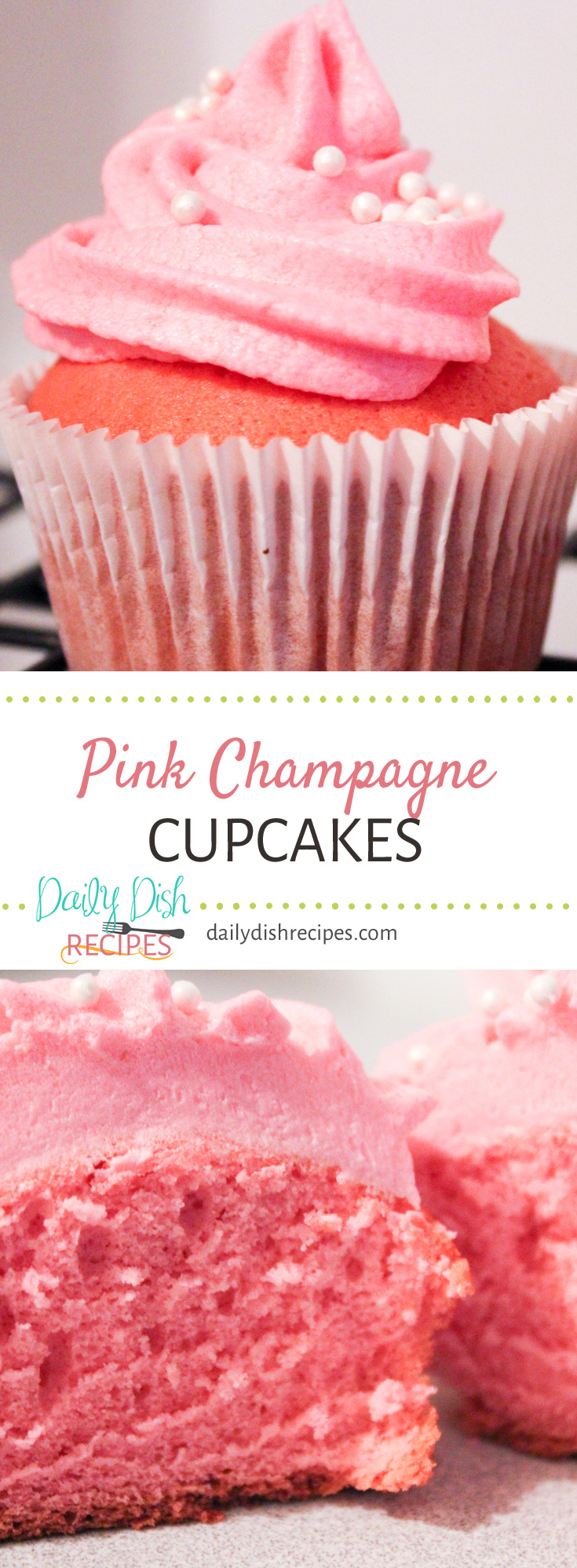 Pink Champagne Cupcakes with Strawberry Champagne Frosting are a fun and festive way to celebrate Valentine's Day or any special holiday with a love one. (they are also pretty fun for New Year's too!)