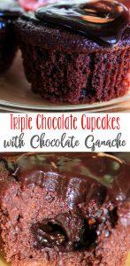 Triple Chocolate Cupcakes with Chocolate Ganache Recipe