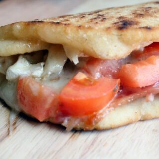 Melted Brie & Bacon on Grilled Flatbread