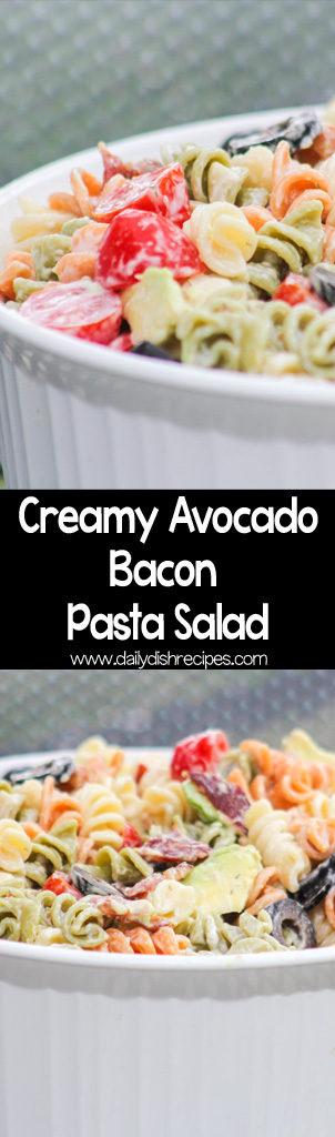 Creamy Avocado Bacon Pasta Salad