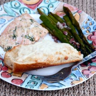Roasted Salmon and Asparagus with Grilled Garlic Bread