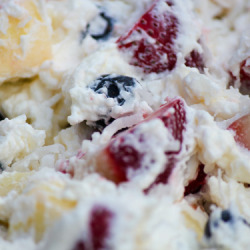 red white and blue fruit salad coconut milk whipped cream
