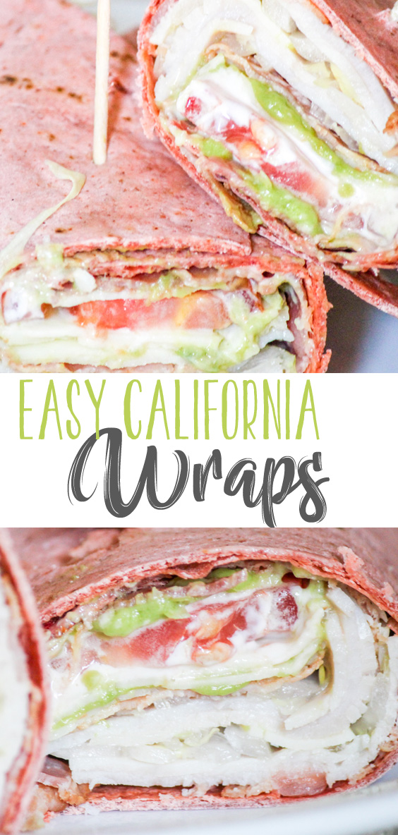Fully loaded with wonderful fresh vegetables, creamy avocado and savory turkey and bacon, these Lunchbox Easy California Wraps are the perfect solution to lunch!
