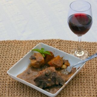 Elegant Pot Roast with a Glass of Wine