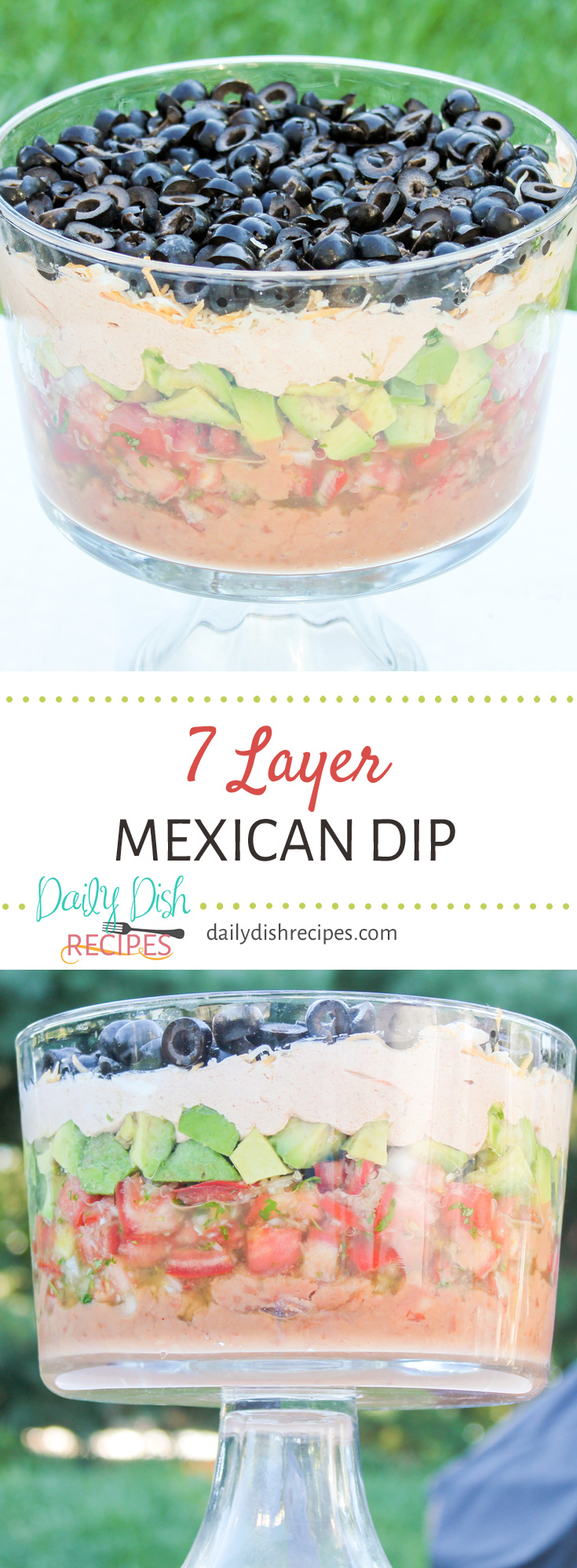 Layer upon layer of flavorful ingredients not only look beautiful but taste delicious too. This7 Layer Mexican Dip Recipe is a huge hit at any party I make it for.
