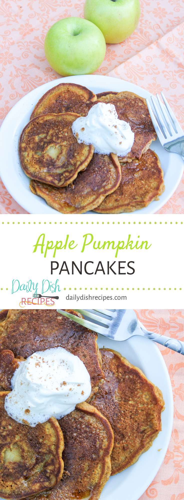 Autumn Pancakes that you can enjoy anytime! These Apple Pumpkin Pancakes taste like Fall in each bite, boast loads of apple and pumpkin flavor and are very easy to make!