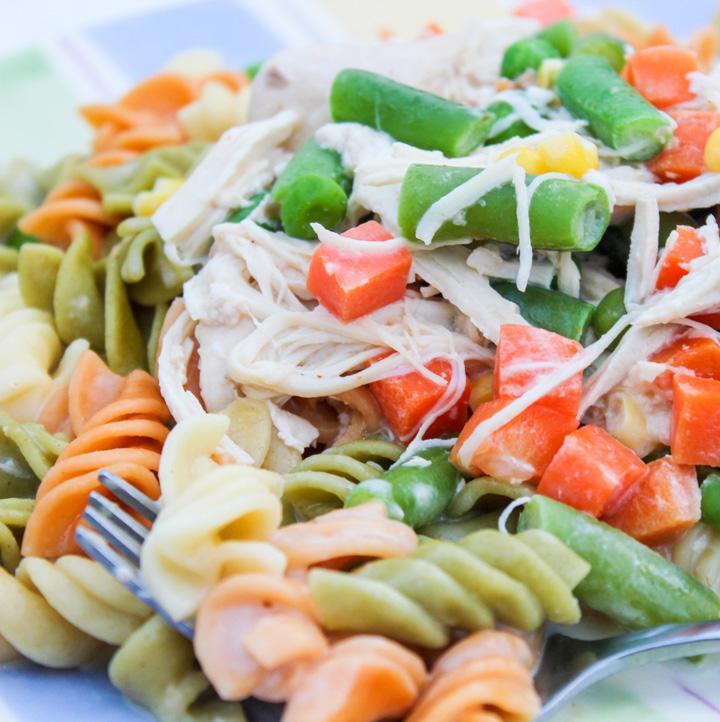 Slow Cooker Garlic Chicken and Veggie Alfredo Pasta
