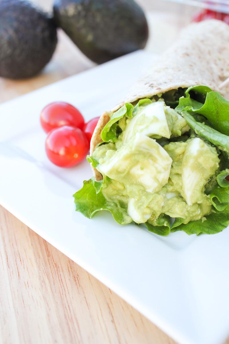 Skinny Avocado Egg Salad Wraps