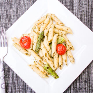 Asparagus Pesto Pasta with Roasted Tomatoes