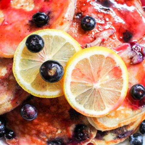 Blueberry Lemon Ricotta Pancakes with Blackberry Vanilla Syrup