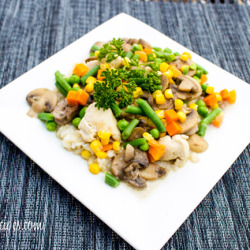 Chicken and Brown Rice with Veggies and Mushrooms