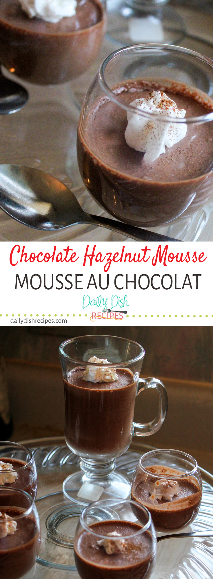 Rich, decadent, delicious fluffy Chocolate Hazelnut Mousse (mousse au chocolat). The perfect dessert for an elegant party or simply just because ... chocolate!