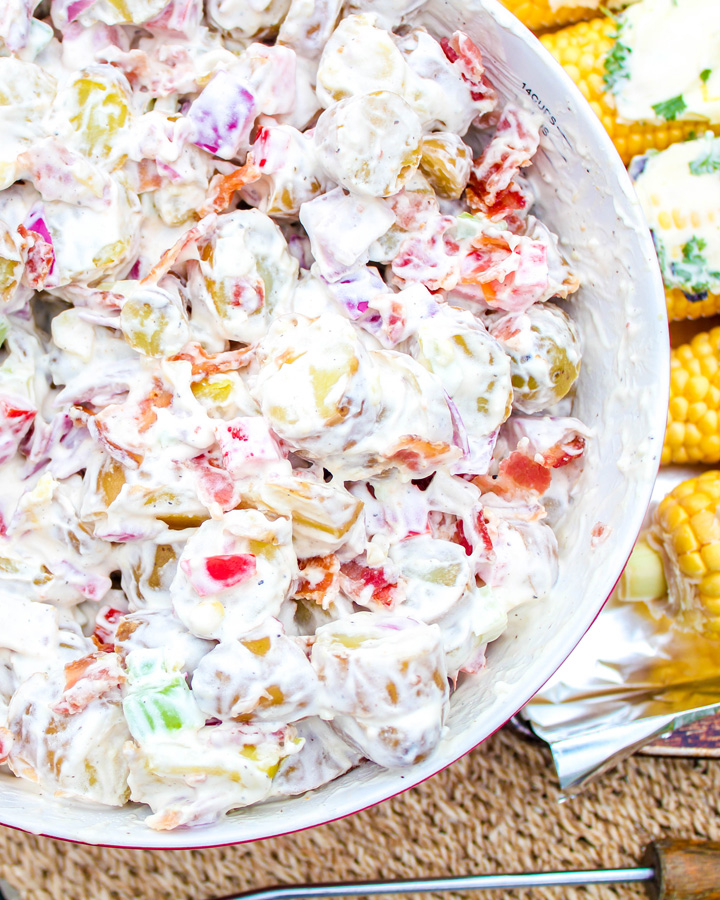Bowl of Bacon Potato Salad for a Budget Friendly BBQ