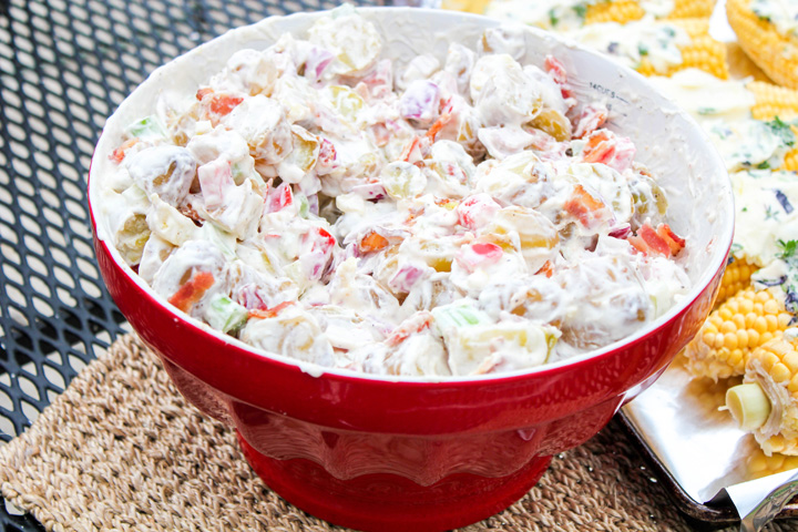 Large bowl of Bacon Potato Salad for a Budget Friendly BBQ