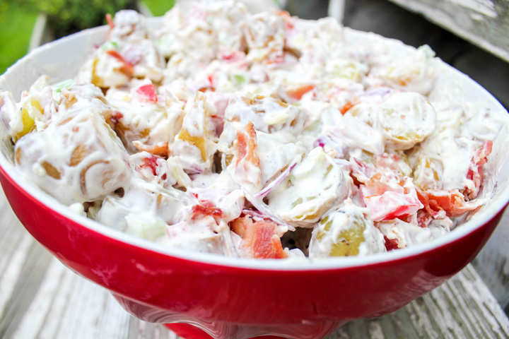 Close up of Bacon Potato Salad for a Budget Friendly BBQ