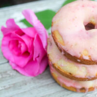 Baked Strawberry Rose Cream Donuts with Strawberry Icing