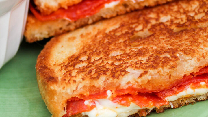 Grilled Pizza Sandwiches Melted Cheese Spicy Pepperoni