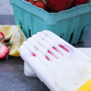 Strawberry Lemon Yogurt Popsicles
