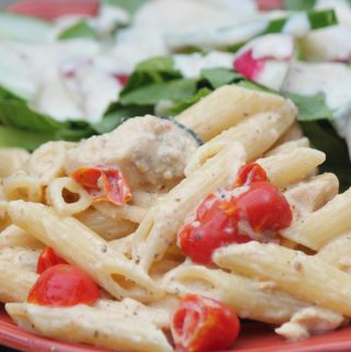Roasted Vegetable and Chicken Pesto Penne