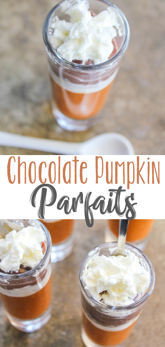 Creamy pumpkin pudding pairs beautifully with chocolate pudding and fresh whipped cream for a delicious sweet fall treat! These Halloween Chocolate Pumpkin Parfaits go fast, so make plenty!