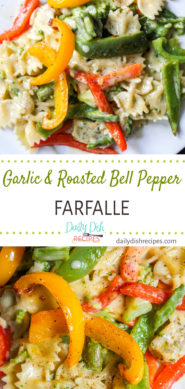 Creamy, flavorful Garlic and Roasted Bell Pepper Farfalle is perfect when you're looking for a little comfort food or when you want to throw together a quick dinner. Either way, it's delicious and full of all the garlic roasted bell pepper goodness!