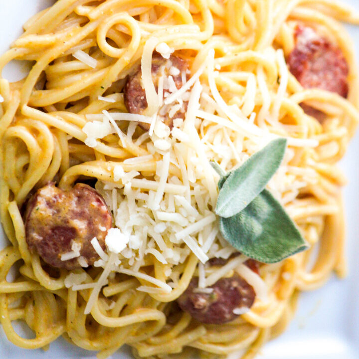 Butternut Squash-Sage Cream Sauce with Sausage Spaghetti