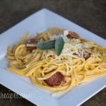 Butternut Squash-Sage Cream Sauce with Sausage Spaghetti #SundaySupper