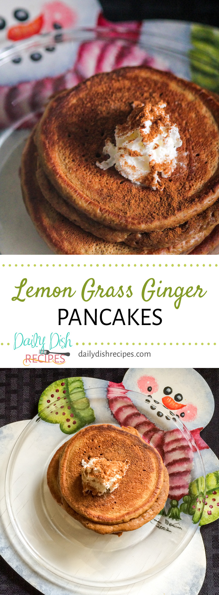 These Lemon Grass Ginger Pancakes are a fun twist on a classic breakfast food. Serve with or without syrup. Enjoy with whipped cream and a little nutmeg for lots of flavor! They  make a great breakfast or brunch idea!
