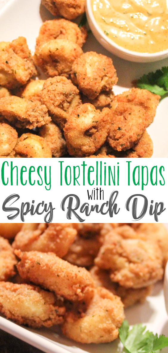 Simple Savory, SpicyCheesy Tortellini Tapas with Spicy Ranch Dip. A great appetizer, snack or even a meal!Easy to make, goes great with lots of different dips, and the dip recipe included is great for lots of other meals.