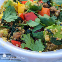 Quinoa and Turkey Sausage Crumbles Dinner (not breakfast) Bowl