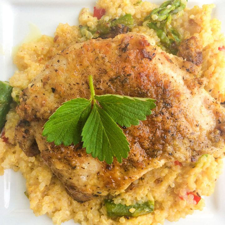 Lemon Thyme Pork Chops with Quinoa, Asparagus & Red Peppers