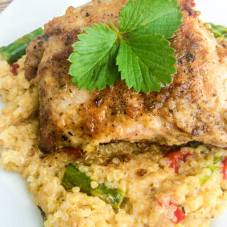Lemon Thyme Pork Chops with Quinoa Asparagus Red Peppers