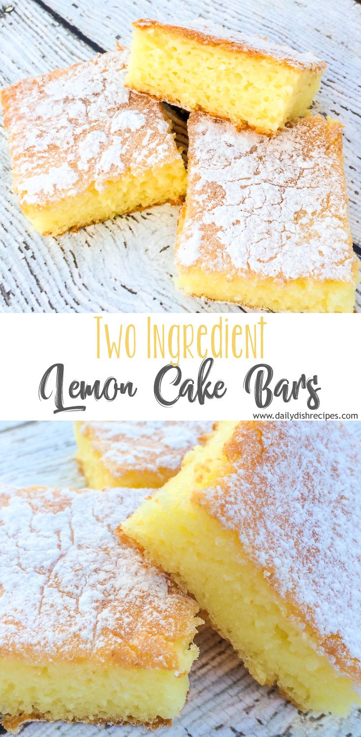 An easy two ingredient recipe that's simple, tastes delicious and can be made in only a half hour. A two ingredient dessert recipe that your whole family will love! Two Ingredient Lemon Bars are the perfect easy treat!