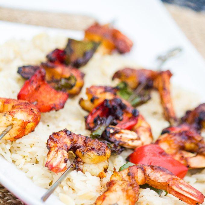 Summer Herbed Grilled Shrimp Recipe: Herb Grilled Shrimp With Grilled Sweet Peppers