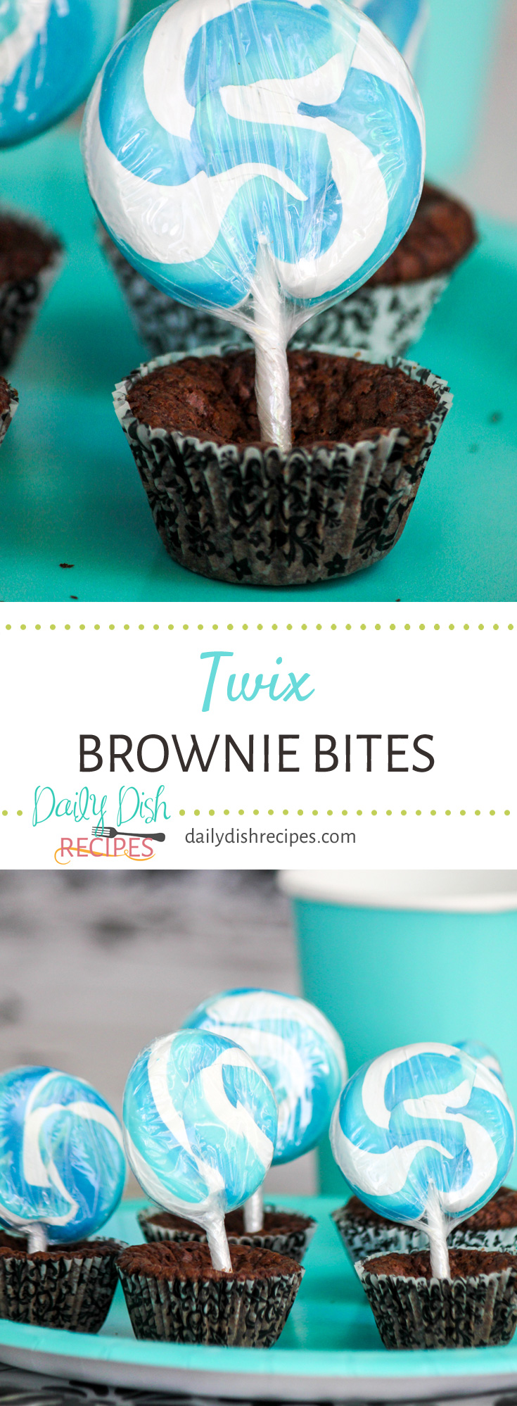 Gooey Caramel Twix Candy Bars combined into rich, moist and chocolaty brownie batter. Twix Brownie Bites are baked up in a mini muffin pan making them the perfect size for any party!