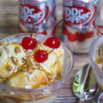 Dr Pepper Cherry Ice Cream with Dr Pepper Cherry Caramel Sauce Perfect for Outdoor Parties #BackyardBash #shop