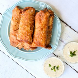 Buffalo Chicken Egg Rolls Creamy Blue Cheese Dipping Sauce