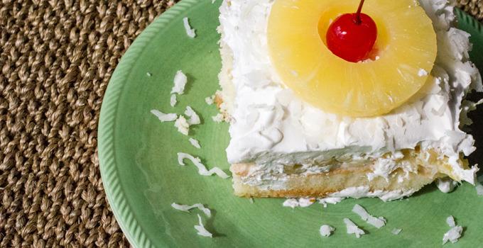 Tropical Pina Colada Poke Cake