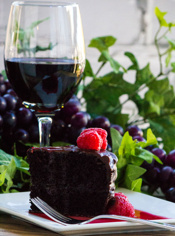 Dark Chocolate Red Wine Cake Slice