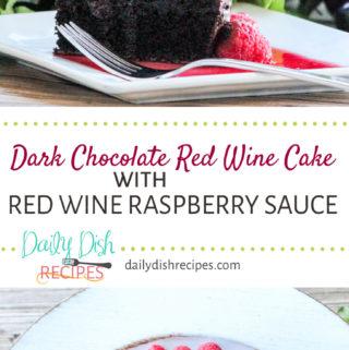 Dark Chocolate Red Wine Cake with Red Wine Raspberry Sauce