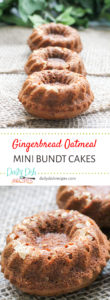 Gingerbread Oatmeal Mini Bundt Cakes