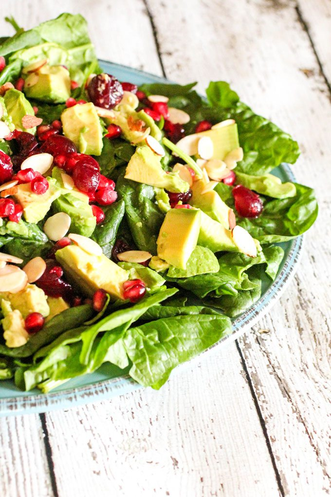 Holiday Avocado, Pomegranate Spinach Salad