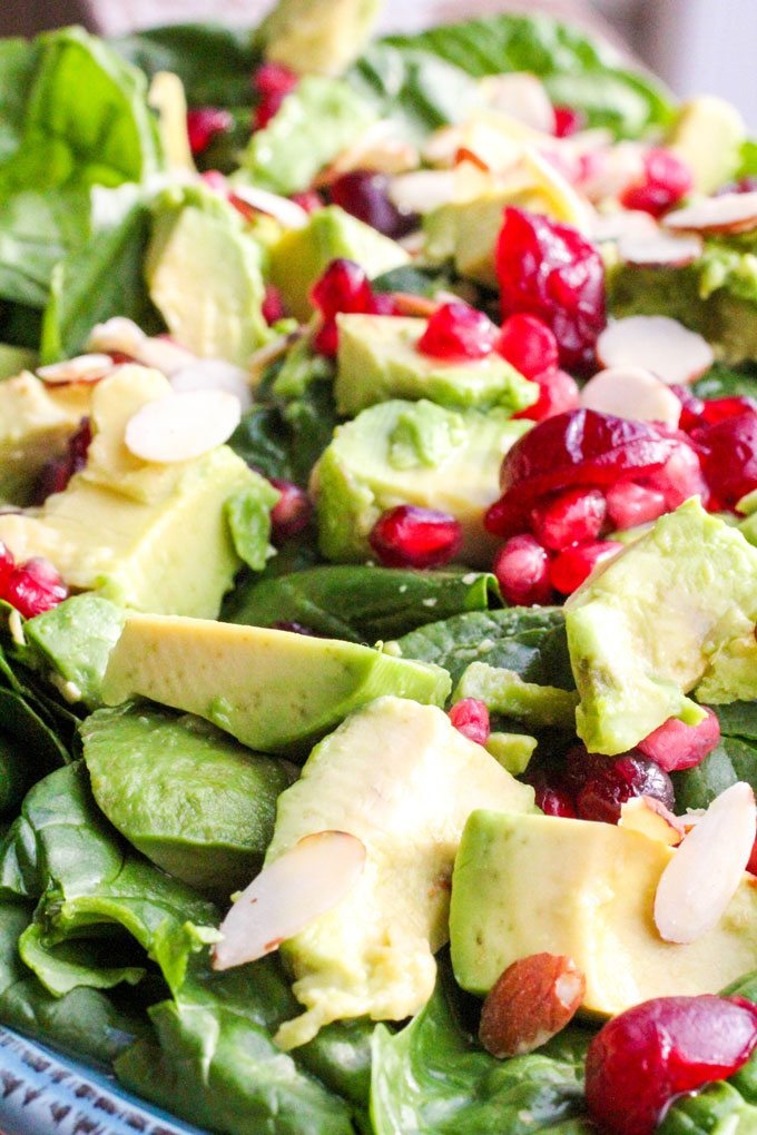 Holiday Avocado Pomegranate Spinach Salad
