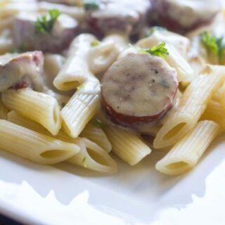 Basil Parmesan Sausage Penne Rigate