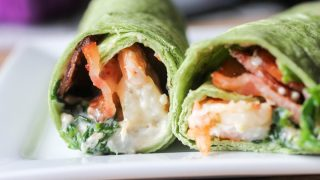 Garlic Shrimp Spinach and Bacon Wrap